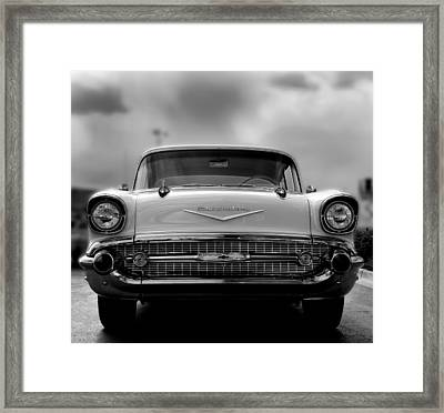 57 Chevy Full Frontal In Bw Framed Print by Don Durante Jr