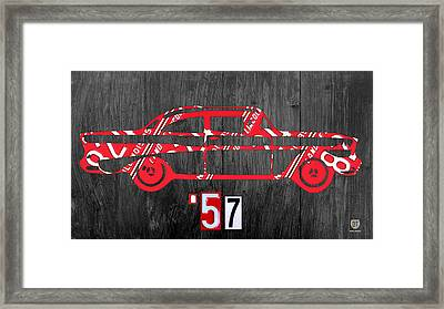 57 Chevy License Plate Art Framed Print by Design Turnpike