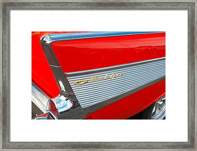57 Chevy Tail Fin Framed Print by Don Durante Jr