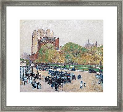 Spring Morning In The Heart Of The City Framed Print by Childe Hassam