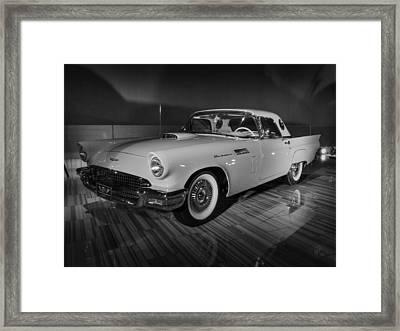 '57 Ford Thunderbird 001 Bw Framed Print by Lance Vaughn