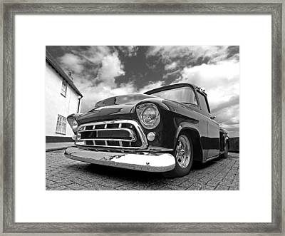 57 Stepside Chevy In Black And White Framed Print by Gill Billington