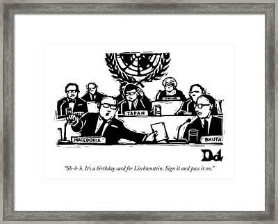 Sh-h-h. It's A Birthday Card For Liechtenstein Framed Print
