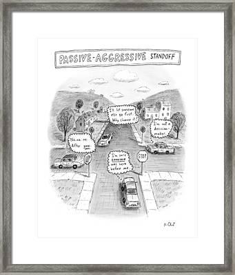 Passive-aggressive Standoff Framed Print