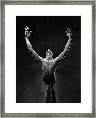 5866 Powerful Male Nude Reaching Up Framed Print by Chris Maher