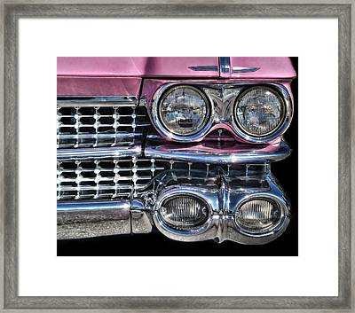 Framed Print featuring the photograph 59 Caddy Lights by Victor Montgomery