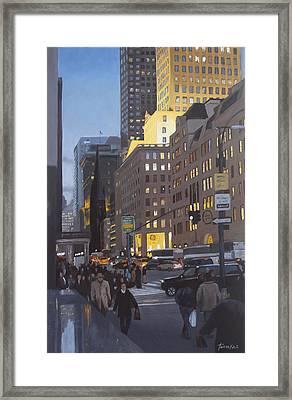 5th At Twilight Framed Print by Linda Tenukas