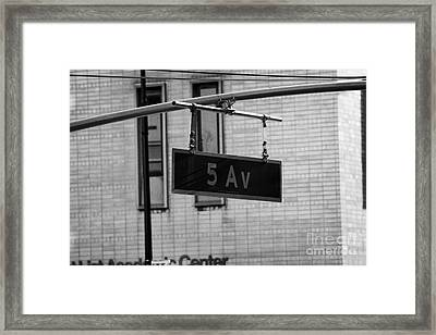 5th Avenue Ave Road Traffic Sign Hanging From Overhead Pole New York Framed Print by Joe Fox