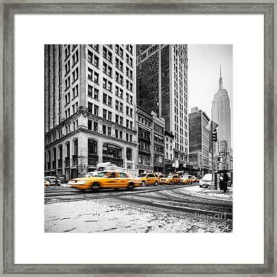 5th Avenue Yellow Cab Framed Print by John Farnan