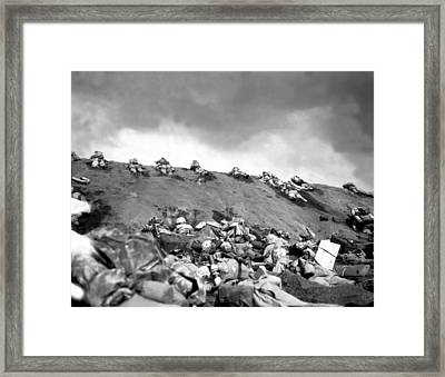 5th Division Marines Crawl Up A Slope Framed Print