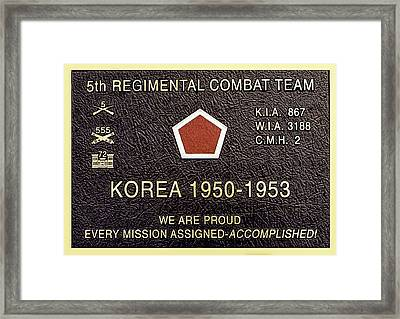 5th Regimental Combat Team Arlington Cemetary Memorial Framed Print by Bob and Nadine Johnston