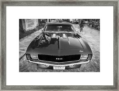 1969 Chevy Camaro Rs Painted Bw   Framed Print
