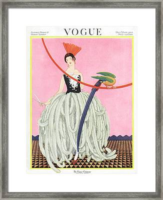 A Vintage Vogue Magazine Cover Of A Woman Framed Print by George Wolfe Plank