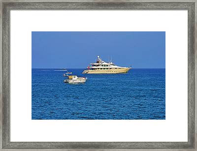 Antibes - Superyachts Of Billionaires Framed Print by Christine Till