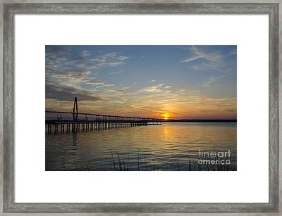 Arthur Ravenel Bridge Tranquil Sunset Framed Print by Dale Powell
