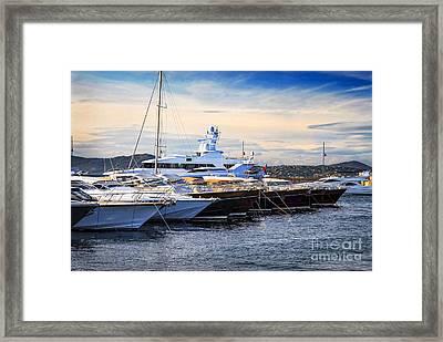 Boats At St.tropez Framed Print by Elena Elisseeva