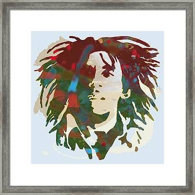 Bob Marley Stylised Pop Art Drawing Potrait Poser Framed Print