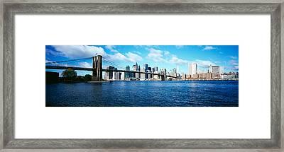Bridge Across A River, Brooklyn Bridge Framed Print by Panoramic Images