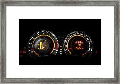 Car Speed Meter Closeup Framed Print
