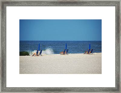 Framed Print featuring the digital art 6 Chairs And Umbrella by Michael Thomas