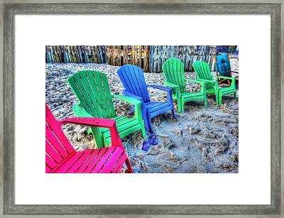 Framed Print featuring the digital art 6 Chairs by Michael Thomas