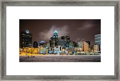 Charlotte Queen City Skyline Near Romare Bearden Park In Winter Snow Framed Print