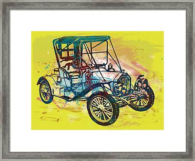 Classical Car Stylized Pop Art Poster Framed Print
