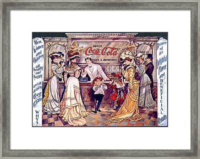 Coca - Cola Vintage Poster Framed Print by Gianfranco Weiss