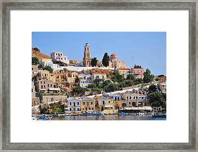 Colorful Symi Framed Print by George Atsametakis