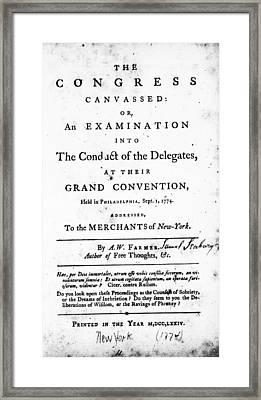 Continental Congress, 1774 Framed Print by Granger