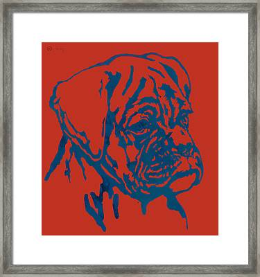 Dog Stylised Pop Modern Etching Art Portrait Framed Print