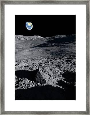 Earthrise Over The Moon Framed Print