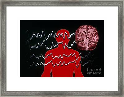 Eeg Of Tonic-clonic Seizure Framed Print by Scott Camazine