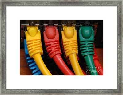 Ethernet Cables Plugged Into Router Framed Print