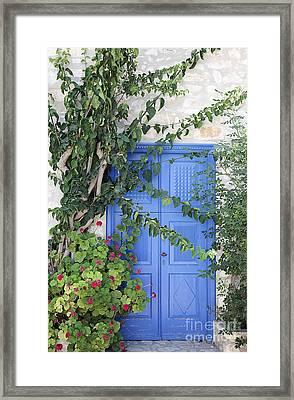 Greek Door Framed Print