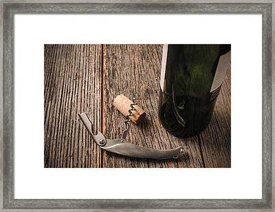 Green Wine Bottle And Cork With Red Wine And Corkscrew Framed Print