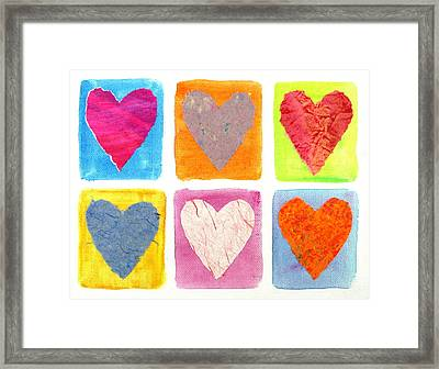 6 Hearts Collage Framed Print