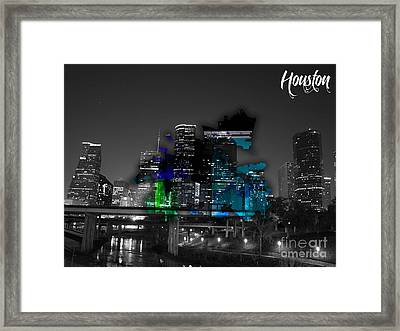 Houston Map And Skyline Watercolor Framed Print by Marvin Blaine