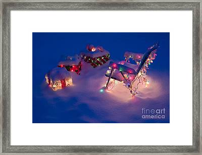 Lawn Chairs With Lit Christmas Presents Framed Print by Jim Corwin