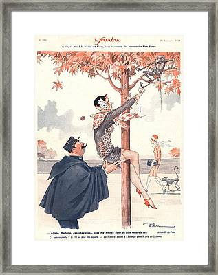 Le Sourire 1920s France Glamour Erotica Framed Print