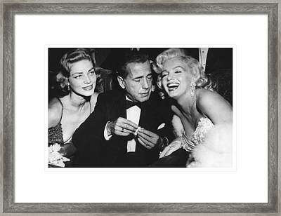 Marilyn Monroe Lauren Bacall Humphrey Bogart How To Marry A Millionaire Premiere November 4 1953 Framed Print