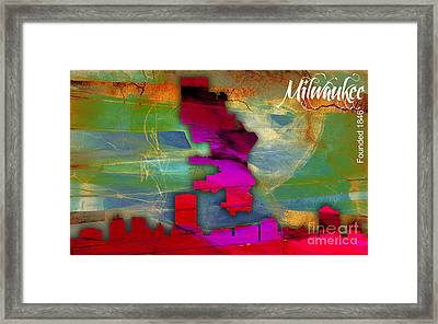 Milwaukee Map And Skyline Watercolor Framed Print