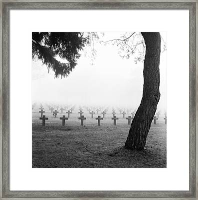 Mist At Cemetery Framed Print
