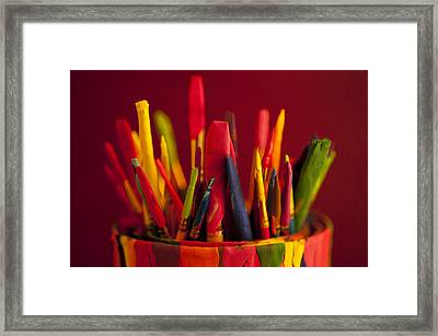 Multi Colored Paint Brushes Framed Print