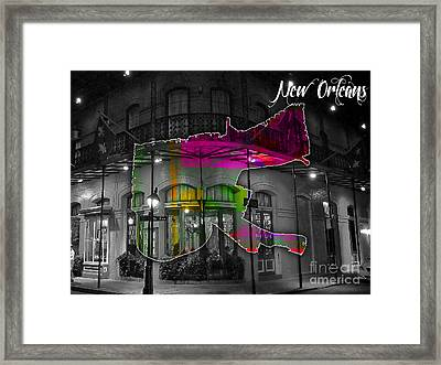 New Orleans Map Watercolor Framed Print by Marvin Blaine