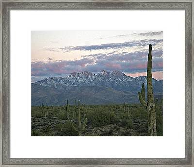 Four Peaks Sunset Snow Framed Print