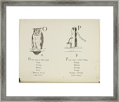 Nonsense Alphabets By Edward Lear Framed Print