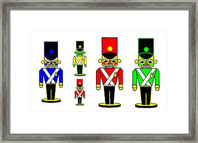 6 Nutcracker Soldiers On Black Framed Print by Asbjorn Lonvig