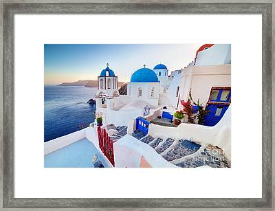 Oia Town On Santorini Greece Framed Print