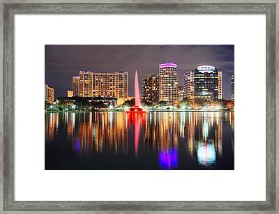 Orlando Downtown Dusk Framed Print